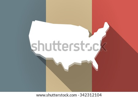 Illustration of a long shadow flag of France vector icon with  a map of the USA - stock vector