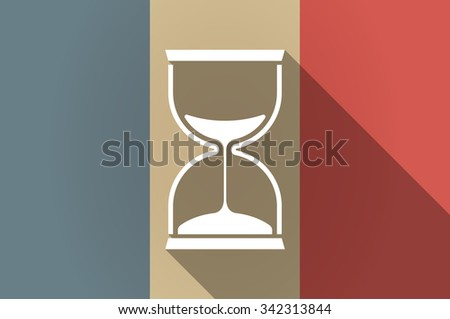 Illustration of a long shadow flag of France vector icon with a sand clock