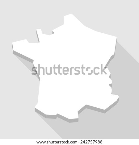 Illustration of a long shadow France map icon - stock vector