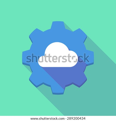 Illustration of a long shadow gear icon with a cloud
