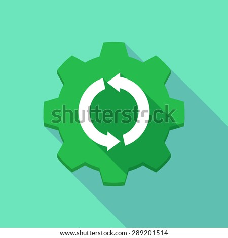 Illustration of a long shadow gear icon with a recycle sign - stock vector