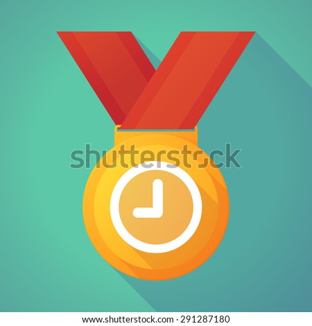 Illustration of a long shadow gold medal with a clock - stock vector