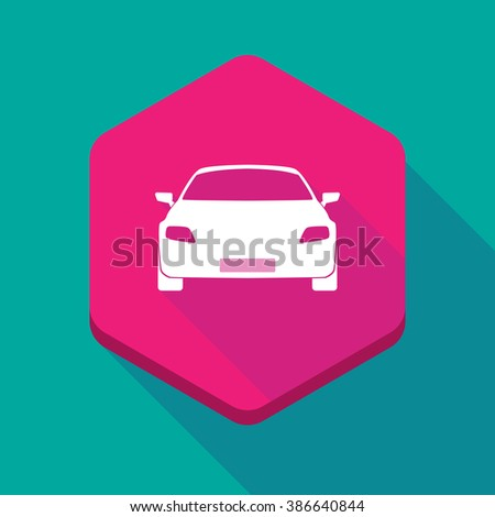 Illustration of a long shadow hexagon icon with a car