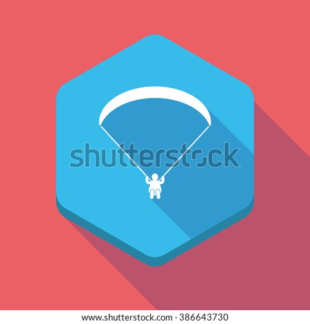 Illustration of a long shadow hexagon icon with a paraglider - stock vector