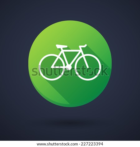Illustration of a long shadow icon with a bicycle - stock vector