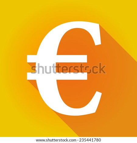 Illustration of a long shadow icon with a currency sign - stock vector