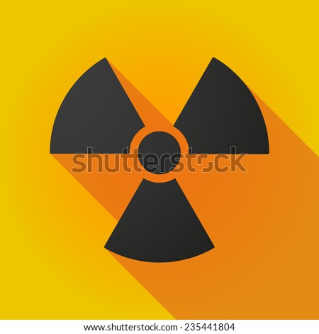 Illustration of a long shadow icon with a radioactivity sign - stock vector