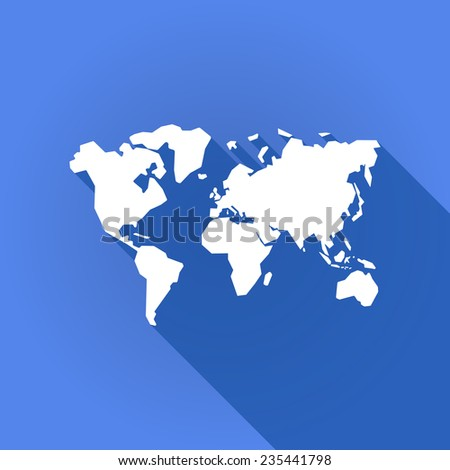 Illustration of a long shadow icon with a world map - stock vector
