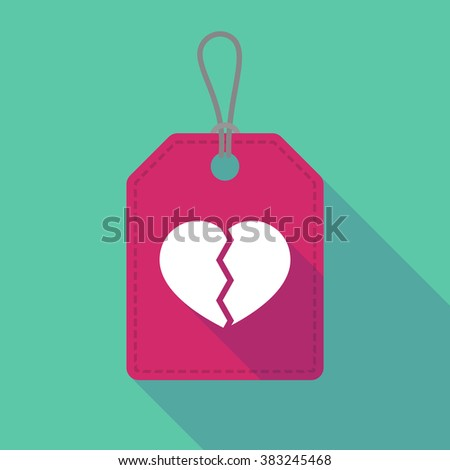 Illustration of a long shadow label icon with a broken heart - stock vector