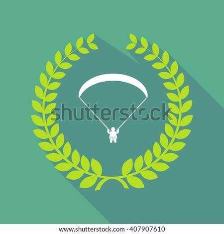 Illustration of a long shadow laurel wreath icon with a paraglider - stock vector