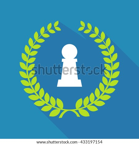 Illustration of a long shadow laurel wreath icon with a  pawn chess figure - stock vector