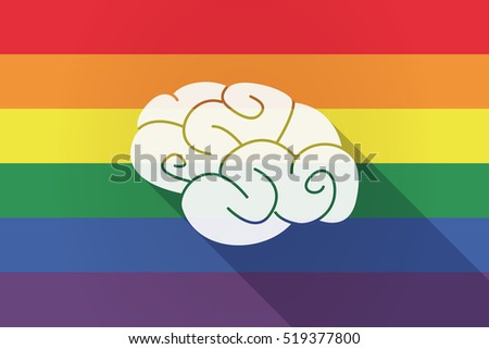 Illustration of a long shadow lgbt gay pride flag with a brain