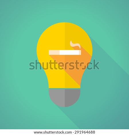 Illustration of a long shadow light bulb with a cigarette - stock vector