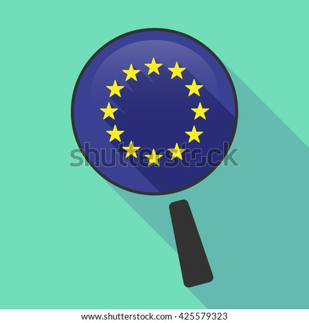 Illustration of a long shadow magnifier vector icon with  the EU flag stars