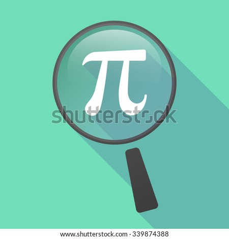 Illustration of a long shadow magnifier vector icon with the number pi symbol