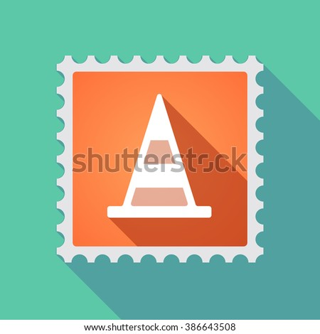 Illustration of a long shadow mail stamp icon with a road cone - stock vector