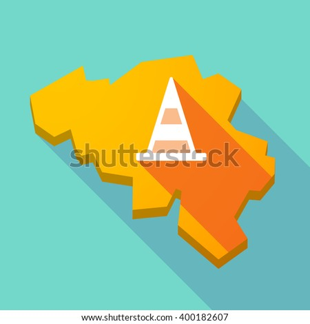 Illustration of a long shadow map of Belgium with a road cone