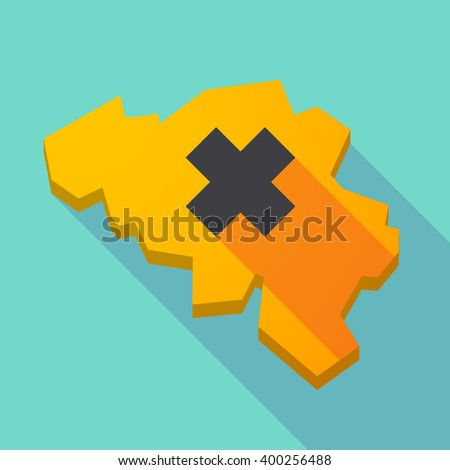 Illustration of a long shadow map of Belgium with an irritating substance sign - stock vector