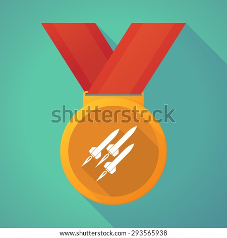 Illustration of a long shadow medal with missiles - stock vector