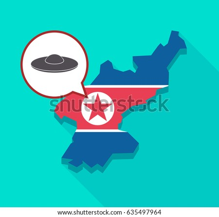 Illustration of a long shadow North Korea map with its flag and a comic balloon with  a flying saucer UFO