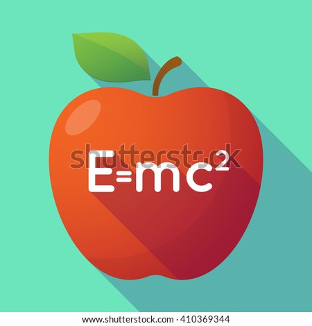 Illustration of a long shadow red apple with the Theory of Relativity formula - stock vector