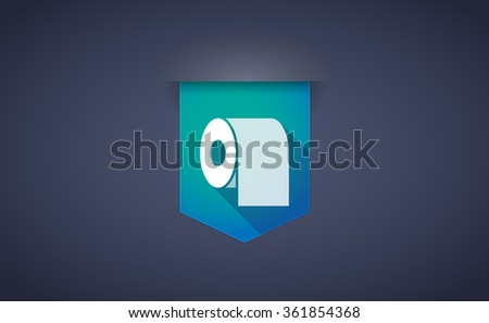 Illustration of a long shadow ribbon icon with a toilet paper roll - stock vector