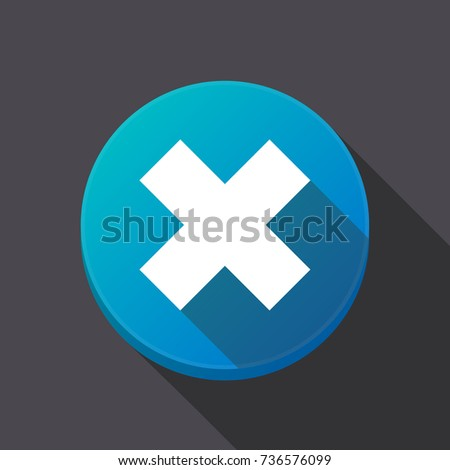 Illustration Long Shadow Ronunded Button X Stock Vector 736576099