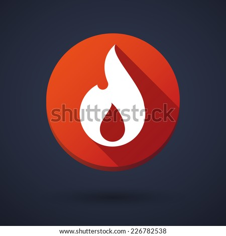 Illustration of a long shadow round icon with a flame - stock vector