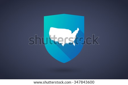 Illustration of a long shadow shield icon with  a map of the USA