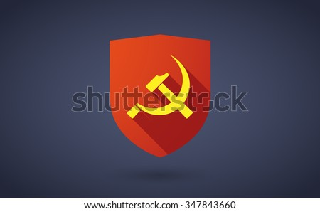 Illustration of a long shadow shield icon with  the communist symbol - stock vector