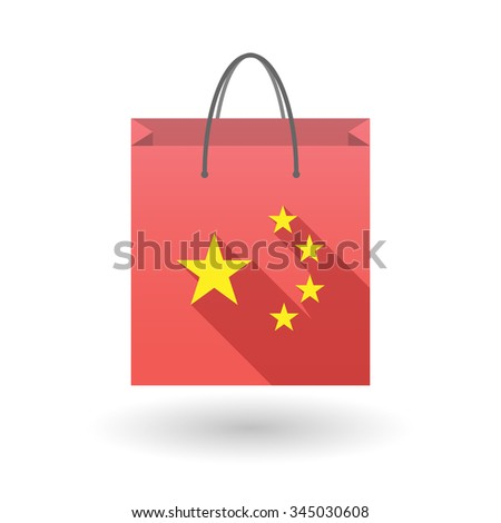 Illustration of a long shadow shopping bag vector icon with  the five stars china flag symbol