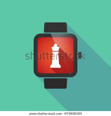 Illustration of a long shadow smart watch with a  king   chess figure