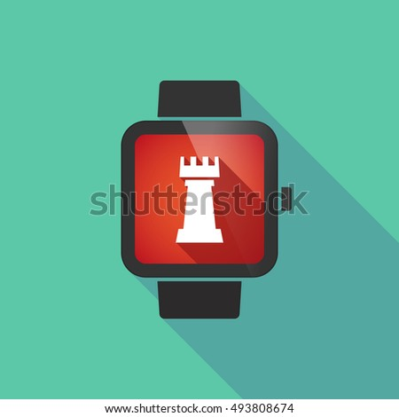 Illustration of a long shadow smart watch with a  rook   chess figure