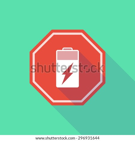 Illustration of a long shadow stop signal with a battery - stock vector