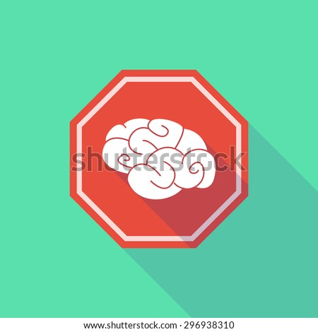 Illustration of a long shadow stop signal with a brain - stock vector