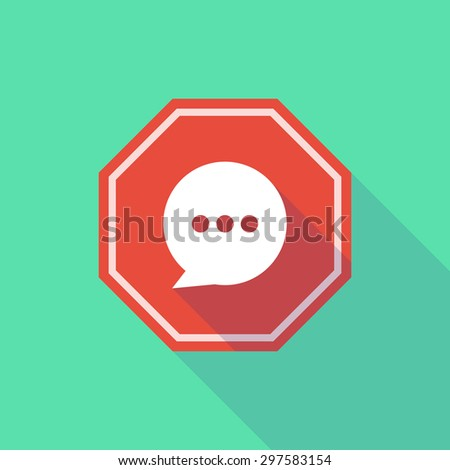 Illustration of a long shadow stop signal with a comic balloon - stock vector