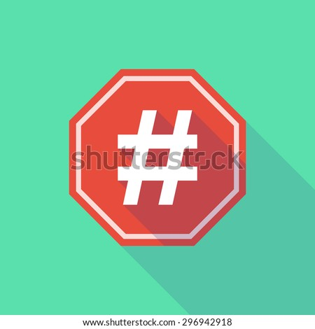 Illustration of a long shadow stop signal with a hash tag - stock vector