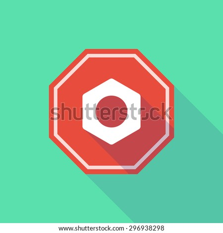 Illustration of a long shadow stop signal with a nut - stock vector