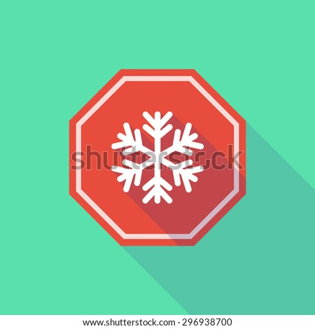 Illustration of a long shadow stop signal with a snow flake - stock vector