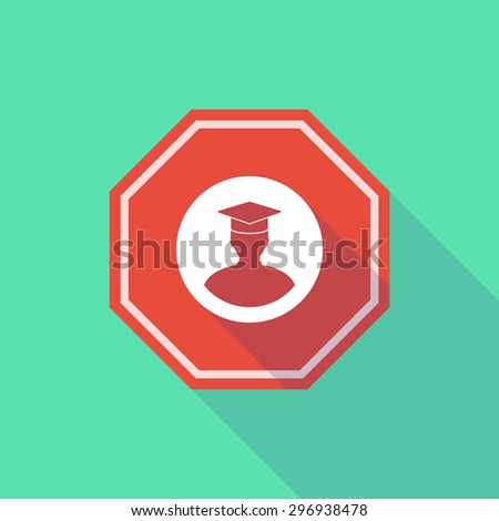 Illustration of a long shadow stop signal with a student - stock vector