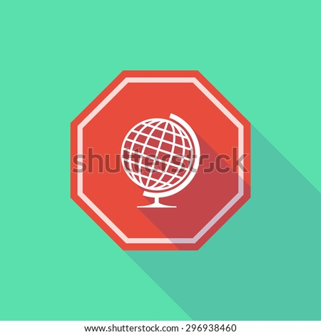 Illustration of a long shadow stop signal with a world globe - stock vector
