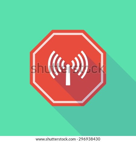 Illustration of a long shadow stop signal with an antenna - stock vector