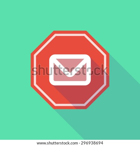 Illustration of a long shadow stop signal with an envelope - stock vector