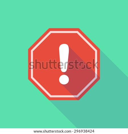 Illustration of a long shadow stop signal with an exclamation sign - stock vector