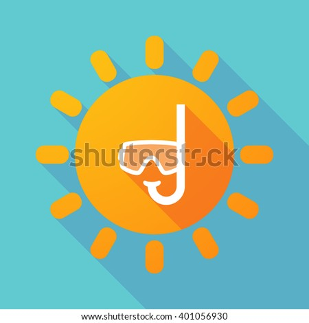 Illustration of a long shadow sun with a diving goggles - stock vector