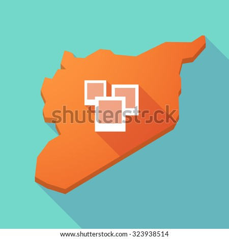 Illustration of a long shadow Syria map with a few photos - stock vector
