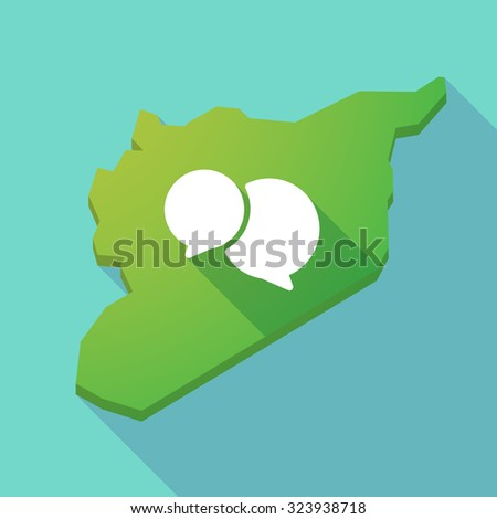 Illustration of a long shadow Syria map with  comic balloons - stock vector