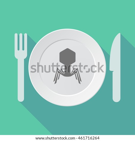 Illustration of a long shadow tableware vector illustration with a virus