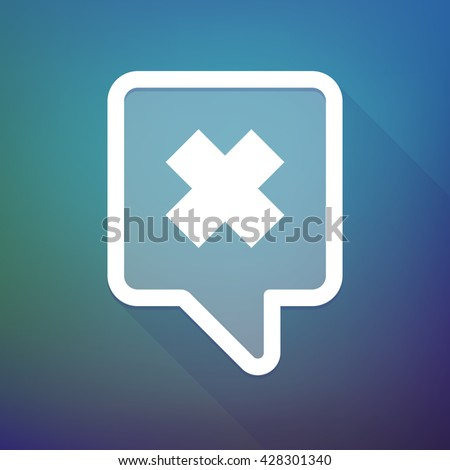 Illustration of a long shadow tooltip icon on a gradient background  with an irritating substance sign - stock vector