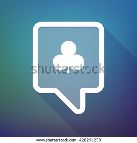 Illustration of a long shadow tooltip icon on a gradient background  with  the  Club  poker playing card sign